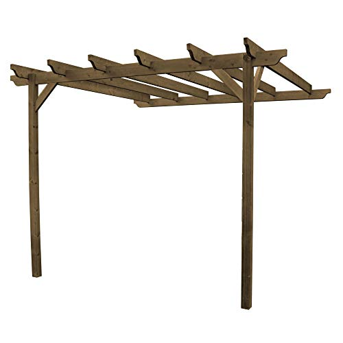 Wooden Garden Structure Wall Mounted Pergola 3m x 3m
