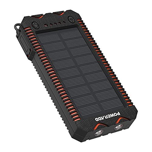 POWERADD Batterie Externe Solaire 12000mAh, Chargeur Solaire Imperméable avec Deux Lampes LED et Briquet Intégré pour en Plein Air, Double Sortie USB pour iPhone 12 Pro Max Mini Huawei Mate 40 Pro