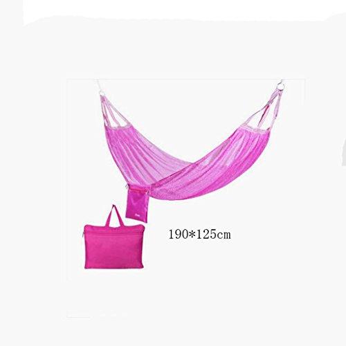 Hamac Outdoor hamac camping camping balançoire hamac hammock alpinisme maille rose hamac en polyester hamac portable (sac de rangement * 1), (190 * 125cm)