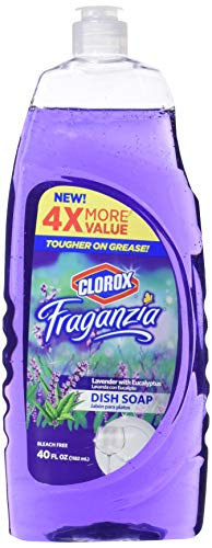 Clorox Fraganzia Liquid Dish Soap in with Eucalyptus 40oz    Dish Soap Cuts Through Grease Fast Quick Rinsing Formula Washes Away Germs for a Clean You Can Trust, Purple, Lavender, 1 Count