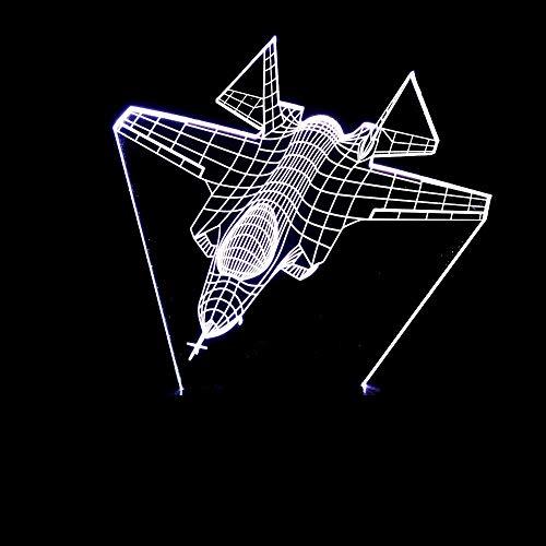 OGUAN Lámpara de mesa de lectura, Regalos de aviones de combate estereoscópica 3D de la lámpara LED de ambiente colorido gradientes táctil USB remoto luz de la noche de noche Escritorio un imaginativo