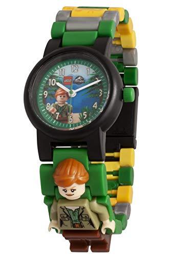 Montre pour enfant LEGO Jurassic World 8021278 Claire avec bracelet à maillons et figurine à construire|verte/noire|plastique|diamètre du cadran: 25mm|à quartz analogique|garçon fille|officielle