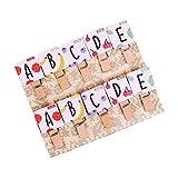Hosaire 10Pcs Clips Photo en Bois Mini Pince a Linge Mignonne Alphabet Anglais vêtir Papier Photo Craft DIY Clip pour décor la...