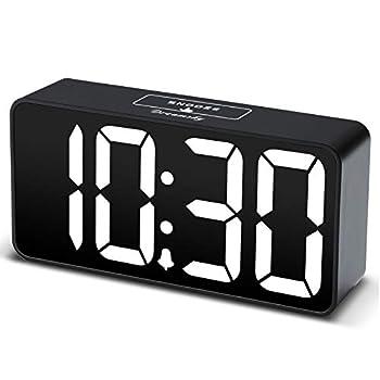DreamSky Compact Digital Alarm Clock with USB Port for Charging 0-100% Brightness Dimmer White Bold Digit Display 12/24Hr Snooze Adjustable Alarm Volume Small Desk Bedroom Bedside Clocks.