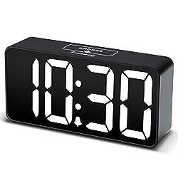 DreamSky Compact Digital Alarm Clock with USB Port for Charging, 0-100% Brightness Dimmer, White Bold Digit Display, 12/24Hr, Snooze, Adjustable Alarm Volume, Small Desk Bedroom Bedside Clocks.