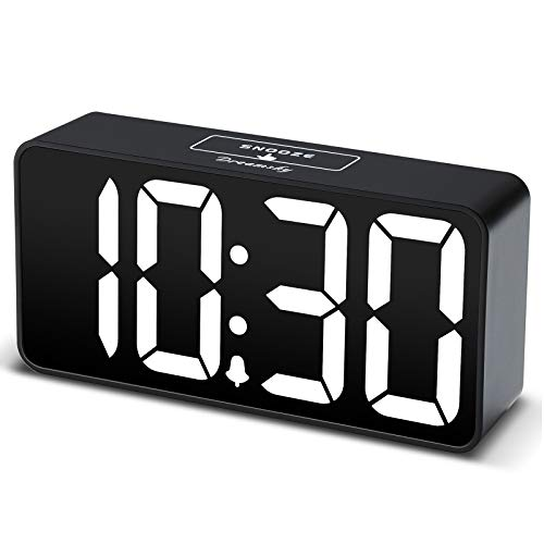 DreamSky Compact Digital Alarm Clock with USB Port for Charging, Adjustable Brightness Dimmer, White Bold Digit Display, 12/24Hr, Snooze, Adjustable Alarm Volume, Small Desk Bedroom Bedside Clocks.