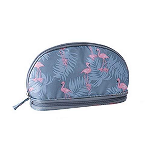 Sac cosmétique mode portable Sac Double cosmétiques Voyage sac ronde femme sac cosmétique, sac Brosse de stockage (Color : B)