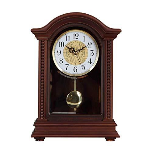 HYY-YY Bureauklok Family klokken Amerikaanse retro Mantel klok van de lijst Niet-Ticking Silent houten for een woonkamer met een slinger Geschikt for woonkamer slaapkamer Office