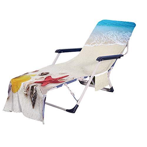 Fansu Schonbezug für Gartenliege Frottee Liegenauflage Garten Sonnenliege Handtuch mit 2 Taschen Stuhl Strandtuch für Schwimmbäder, Strände, Gartenhotels (Sandstrand,75x210cm)