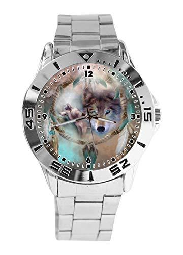Dream Wolf Custom Design Analog Armbanduhr Quarz Silber Zifferblatt Classic Edelstahlband Damen Herren Armbanduhr