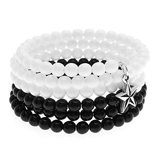 Beadaholique Star Charm Memory Wire Bracelet (Blk/White) - Exclusive...