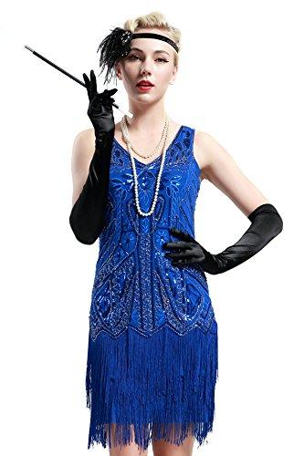 BABEYOND Años 20 Estilo Vintaje Vestido con Cuello en V Gatsby Disfraz Vestido con Flecos de Lentejuelas (Azul, S)