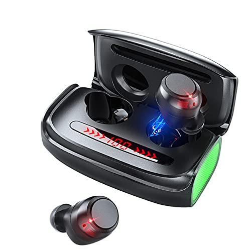 KANGLE-DERI Auriculares Bluetooth Verdaderos Auriculares inalámbricos Auriculares Auriculares de bajo Perfil Llamada de Voz a Prueba de Agua a Prueba de Agua con micrófono Pantalla LED Inteligente