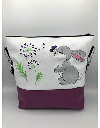 Handtasche Pusteblume mit Hasi lila Schultertasche/Umhängetasche *bestickt