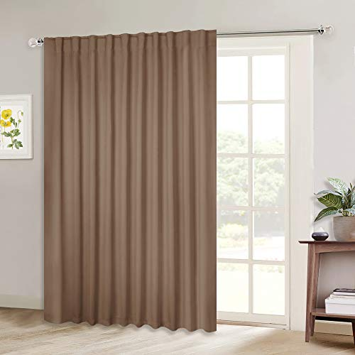 NICETOWN Blackout Blinds for Patio Door Sliding Door Insulated Blackout Curtains Extra Wide Curtain for Villa/Hall/Parlor Cappuccino 80 inches W x 84 inches L Single Panel