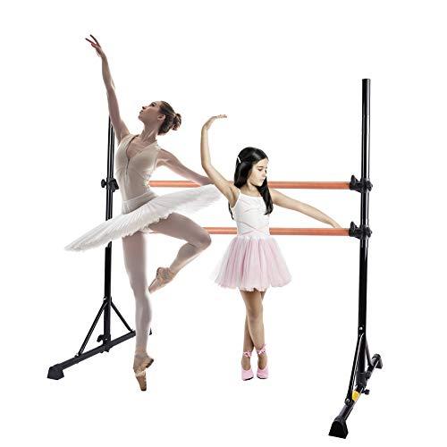 Z ZELUS Barra de Ballet Portátil 79 cm-152 cm Barra de Ballet Doble para Niños Barra de Ballet Ajustable Ballet Barre de Alta Resistencia para el Hogar (Negro)