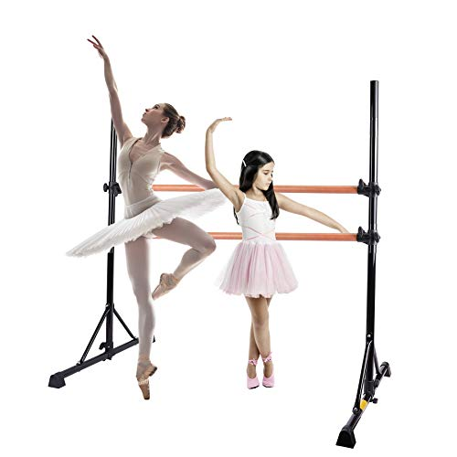 ZELUS 5 Feet Ballet Barre Pink for 2 Person, Portable Double Freestanding Beech Wood Ballet Barre Adjustable Portable Heavy Duty Dancing Stretching Ballet for Home, Dance Barre, Fitness Ballet Bar