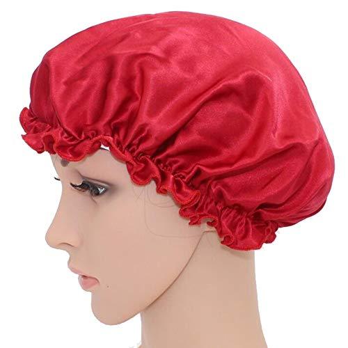 WJH Sleeping Naturel Soie de mûrier Bonnet de Nuit Bonnet Chapeau Head Couverture pour Beauty Hair avec Bande élastique pour Cheveux Perte de Sommeil Protection des Cheveux (2 pièces),Rouge