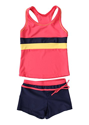 JerrisApparel Little Girls' Summer Two Piece Boyshort Tankini Kids Swimsuit (12-13/Tag Size 4XL, Watermelon Red)