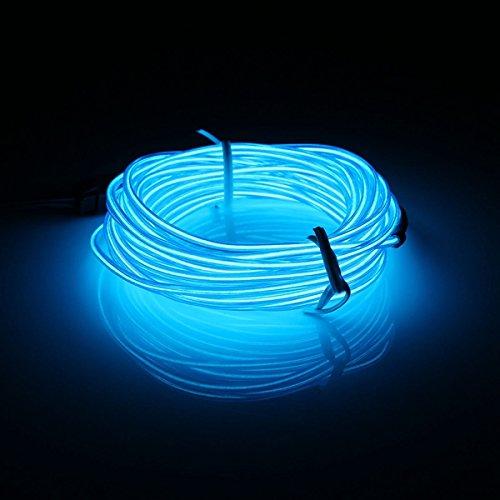 MASUNN 5 M El LED Flexible Suave Tubo De Neón Resplandor Coche Cuerda Franja Luz Navidad DecorACión DC 12V-Azul
