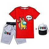 HAULBOTV Among Us Unisex Imposter Game Estampado gráfico Camiseta Pantalones Cortos Gorra de béisbol Traje Deportivo Casual de Tres Piezas Adecuado para Primavera y otoño