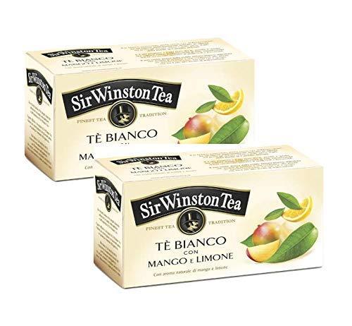 Sir Wiston Tea Tè Bianco Aromatizzato con Mango e Limone - 2 x 20 Bustine di Tè (50 Grammi)