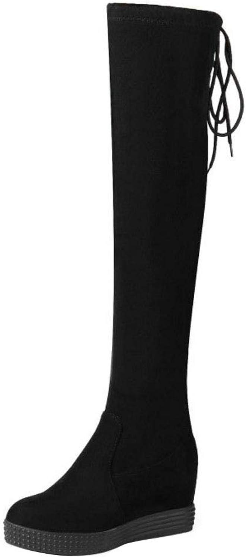 NIGHT CHERRY Women Platform Wedge Heel Long Boots Pull On