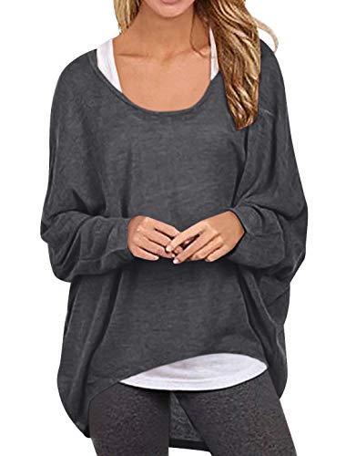 Yidarton Pullover Damen Asymmetrisches Oberteil Oversize Pullover Damen Jumper Sweatshirt Baggy Lose Tops Bluse Langarm