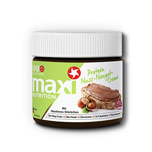MaxiNutrition Protein-Nuss-Nougat-Creme – Proteinreicher Aufstrich mit Haselnuss-Stücken – Ohne Zuckerzusatz & Palmölfrei – 1 x 250 g