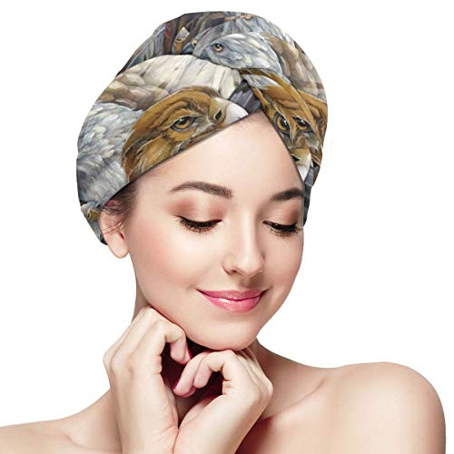 Vintage Patriotic Eagle Owl Dry Hair Cap Microfibre Hair Towel Wraps Ultra Absorbent Quick Dry Twist Turban with Button for Drying Curly Long Thick Hair 11 inch X 28 inch