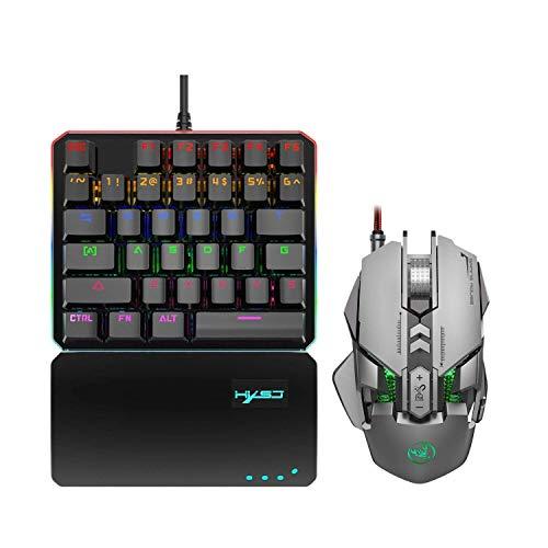 AOIWE Teclado de ratón Teclado de Juegos mecánico de una Mano y Combo de ratón programable, Teclado de Juego con Cable USB y ratón retroiluminado LED para LOL/PUBG/Wow/Dota/OW (Color : Gray)