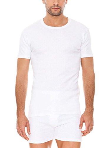 ABANDERADO - Camiseta Térmica De Manga Corta Y Cuello Redondo para hombre, color blanco, talla 48/M