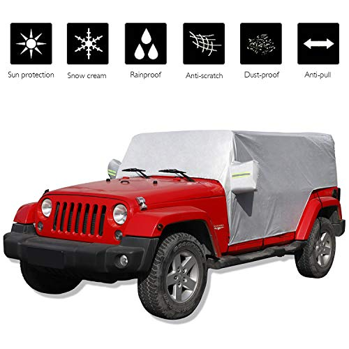 JeCar for Jeep Car Cover Weatherproof Car Cover Protect from Snow Rain Hail Sunshine Fit for Jeep Wrangler JK JL 2007-2020 All Submodels