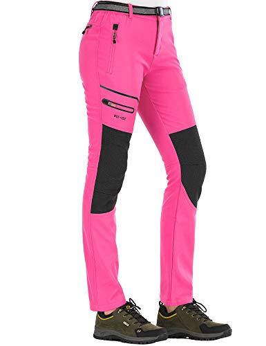 DAFENP Damen Wanderhose Outdoorhose Wasserdicht Softshellhose Winddicht Winter Warm Gefüttert Trekkinghose KZ1662W-Pink-L