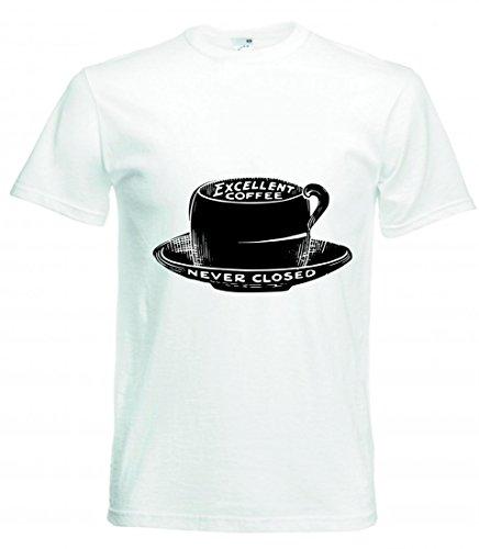 T-Shirt Jahrgang- SCHWARZ UND WEIß- Zeichnung- VIKTORIANISCHEN- ALTMODISCHE- Skizze- Kaffee- Pokal- Trinken- Cafe- GETRÄNKE in Weiss für Herren- Damen- Kinder- 104-5XL
