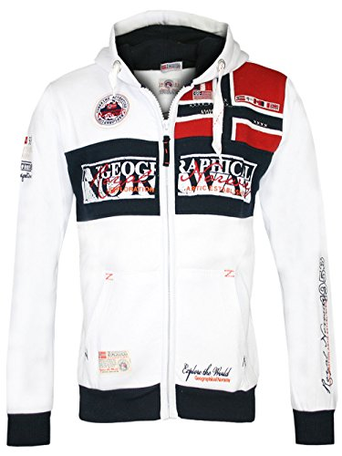 Geographical Norway Herren Hoodie Jacke Flyer, Weiß, XXL