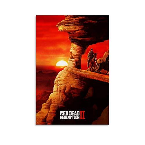xiaoxiami Red Dead Redemption 2 Poster décoratif sur toile pour salon, chambre à coucher 40 x 60 cm