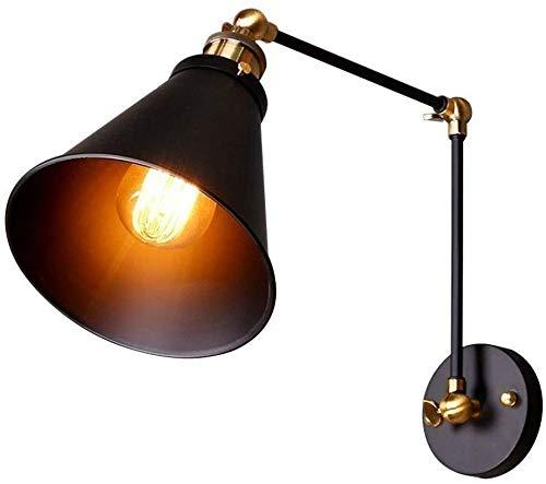 LSLRY Lámpara de Pared Retro, Industria del Hierro Loft Muro Negro (Bombilla...