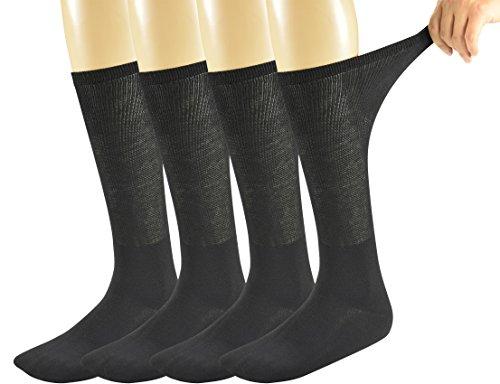 Yomandamor Mens Bamboo Diabetic Over The Calf Socks,4 Pack Size 10-13(B)