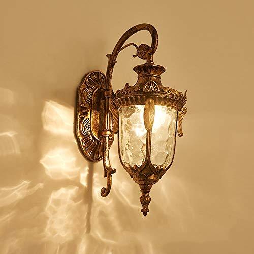 Sebasty Lámpara De Pared A Prueba De Agua Al Aire Libre Europea Led Villa De Jardín Americano Retro Lámpara De Pared Exterior Terraza Exterior Balcón Lámpara De Jardín (Color : Large Brass)