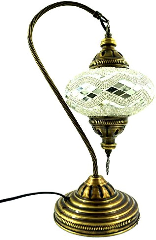 Handgefertigte Orientalisch Türkisch Tisch Lampe Innenleuchte Nachttischlampe Beistelllampe Handarbeit Mosaik Glas Tischlampe Bogenlampe Glasgre 3 (Silber-Welle)