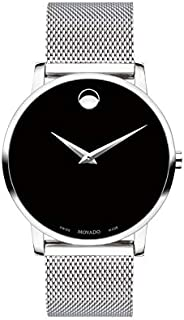 Movado Men's Museum Stainless Steel Watch with Concave Dot Museum Dial, Black/Silver (Model 607219)