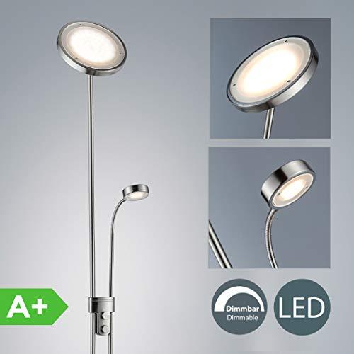 Lámpara de pie con interruptor de cable y pie I Lámpara de lectura 21W I Altura 1800 mm...