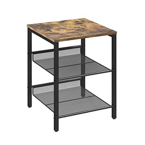 Umi Amazon Brand Industrieller Beistelltisch, Nachttisch, Beistelltisch mit Stahlrahmen und verstellbaren Gitterböden, einfache Montage, rustikales Braun und Schwarz