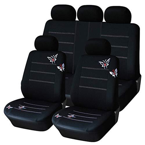 Set coprisedili per Auto, Set di 9, Set Copri-Sedile Universale Nero per Guidatore e Passeggero con Airbag Laterali | Accessori Auto Interno
