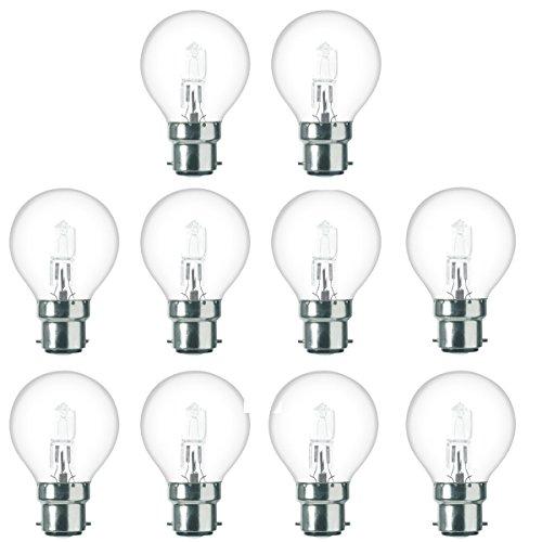 10x Pack 42W = 60W 240V BC B22Bajonettsockel Low Energie Qualität Eco klar Halogen Golfball Glühbirnen