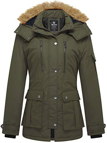 Wantdo Cappotto Invernale Caldo Giaccone Slim Fit Jacket Idrorepellente Casual Cappotto Medio Lungo Donna Verde Militare XL