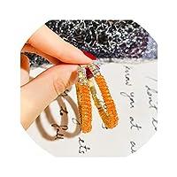グリーン ホワイト オレンジ ラインストーン サークル ステートメント イヤリング 925 合金 フープ イヤリング レディース ウェディング ファッション ジュエリー HE6351 オレンジ