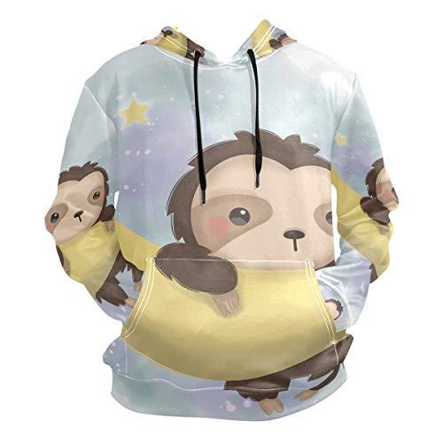 Perezoso Colgante Luna Estrella Sudadera con Capucha Hoodies Hombre Mujer 3D Impresión Sweatshirt Sudaderas Pullover para Niñas Niños