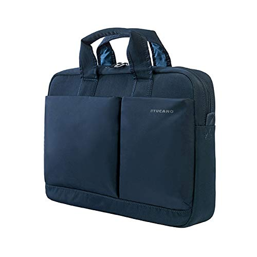 Tucano-Slim bag for Laptop up to 14' inches and MacBook Pro 13' Retina. Business Bag and University. Man and Woman. Document holder, Durable. Pockets for iPhone and iPad. Shoulder Bag Included, Blue